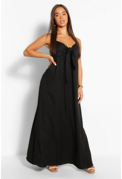 Black Crepe Tie Front Strappy Maxi Dress