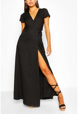 Black Plunge Front Tie Wrap Maxi Dress