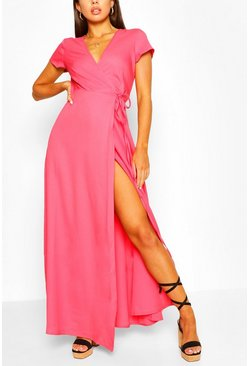 Coral pink Plunge Front Tie Wrap Maxi Dress