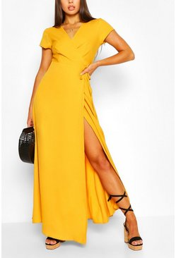 Mustard Plunge Front Tie Wrap Maxi Dress