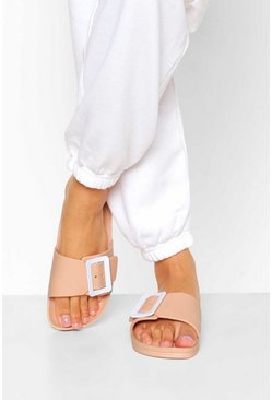 Nude Buckle Trim Footbed Slider