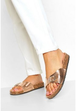 Rose gold metallic Buckle Strap Footbed Slider