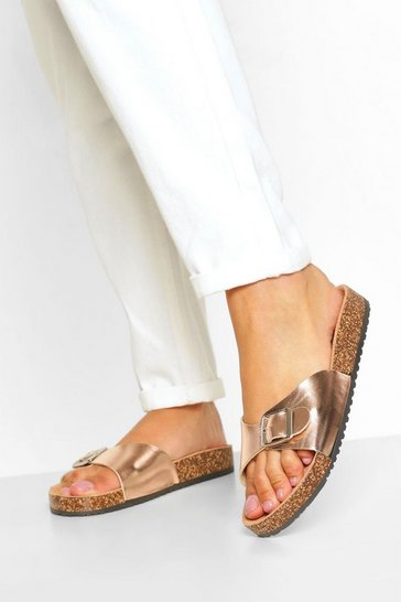 Rose gold Buckle Strap Footbed Slider