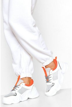 Orange Chunky Lace Up Mesh Panel Trainer