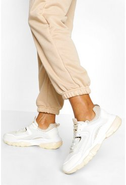 Beige Chunky Lace Up Sneakers