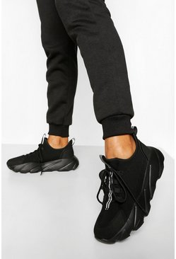 Black Knitted Chunky Platform Trainers