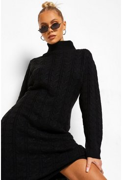 Black Roll Neck Cable Jumper Dress
