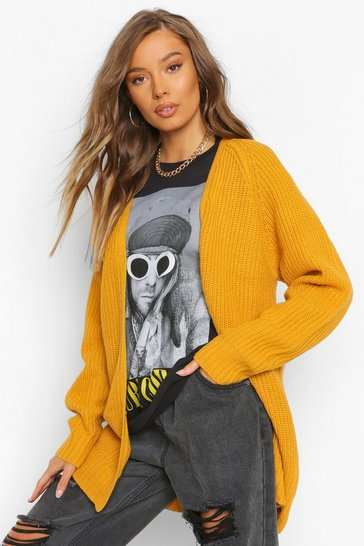 Ochre yellow Fisherman Knit Cardigan