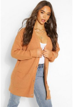 Tan brown Slouch Soft Yarn Cardigan