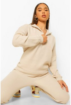 Stone Zip Polo Knitted Tracksuit