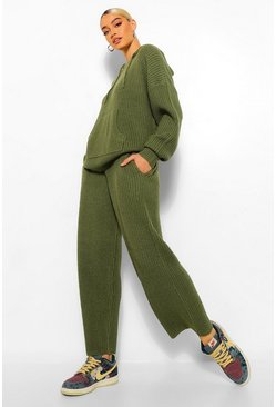 Khaki Chunky Knit Hoody Wide Leg Lounge Set
