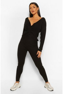 Black Twist Front Skinny Leg Loungeset