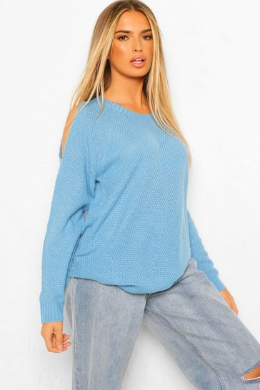 Blue Cold Shoulder Oversized Jumper