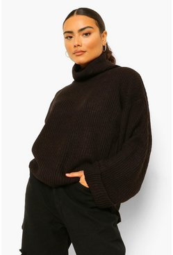 Black Roll Neck Turn Up Cuff Jumper