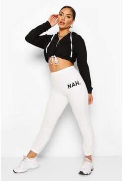 Wit white Joggingbroek met nah-slogan