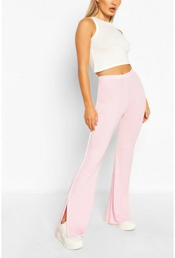 Baby pink pink Contrast Stitch Split Flare