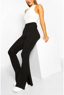 Black Basic Split Hem Flare