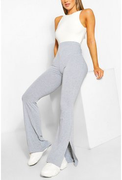 Grey Basic Split Hem Flare