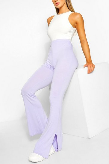 Lilac purple Basic Split Hem Flare