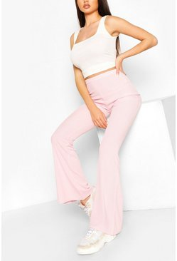 Pink Basic Ribbed Flare