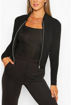 Black Crepe Bomber Jacket
