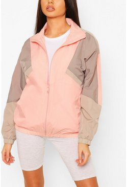 Pink Oversized Funnel Neck Windbreaker