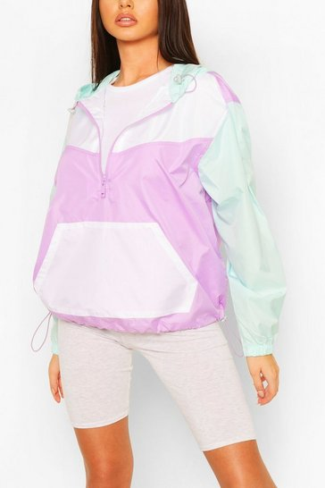 Lilac purple Pastel Contrast Panel Windbreaker