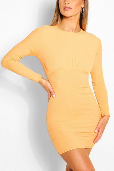 Orange Rouched Bust Long Sleeve Mini Dress