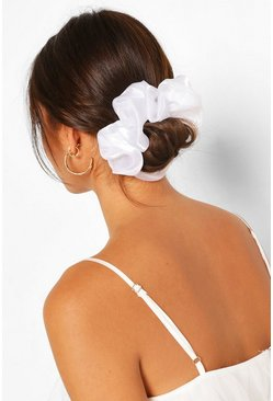 White Satin Super Soft Hair Protect Scrunchie
