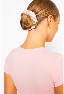 Pink Rose Print Scrunchies
