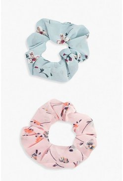 Multi Ditsy Floral 2 Pack Scrunchies
