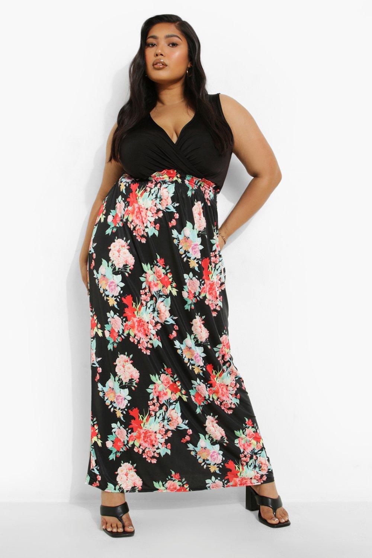 Plus 2in1 Floral Print Maxi Dress 6