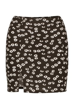 Black Ditsy Floral Side Split Mini Skirt