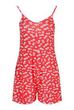 Red Ditsy Floral Cami Swing Playsuit
