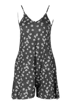 Black Ditsy Floral Cami Swing Playsuit