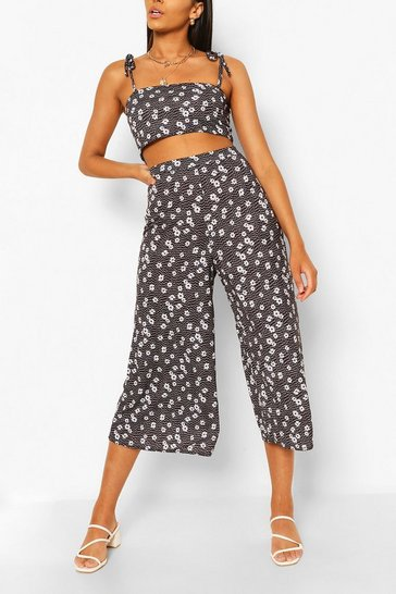 Black Ditsy Floral Tie Shoulder Culotte Co Ord