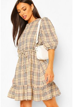Nude Check Print Puff Sleeve Ruffle Hem Skater Dress