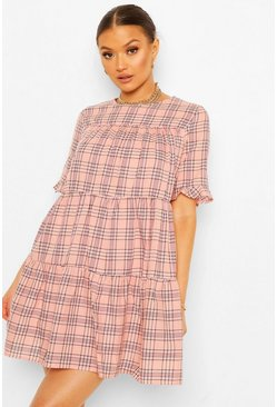 Pink Short Sleeve Tiered Check Smock Dress