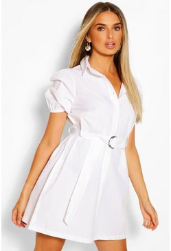 White Belted Puff Sleeve Shirt Dress