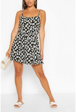 Black Daisy Print Strappy Sundress