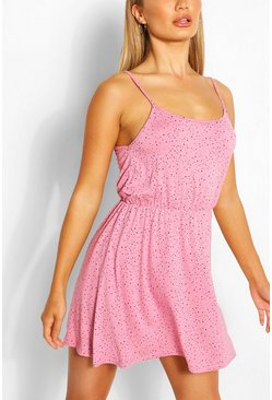 Blush Polka Dot Strappy Sundress