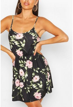 Black Floral Strappy Sundress