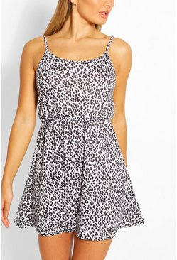 White Tonal Leopard Strappy Sundress