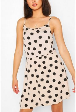 Stone beige Large Polka Dot Sundress
