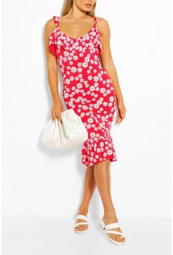 Red Daisy Ruffle Detail Midi Dress