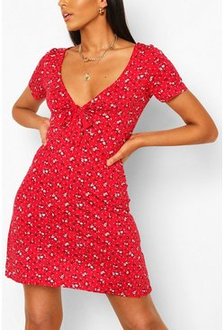 Red Ditsy Floral Flared Sleeve Skater Dress