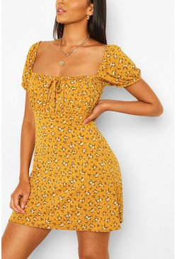 Mustard yellow Ditsy Floral Rouched Bust Skater Dress