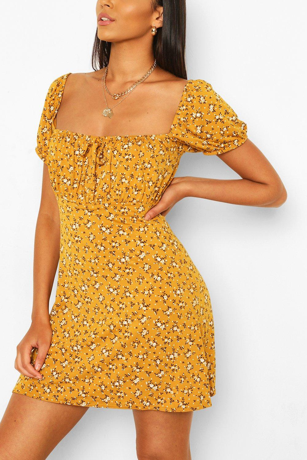 SALE Ditsy Floral Rouched Bust Skater Dress