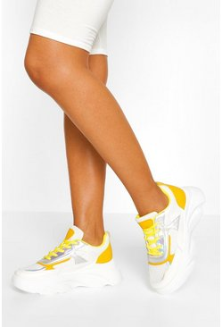 Mustard yellow Chunky Lace Up Trainer