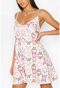 Ivory Butterfly Strappy Swing Dress